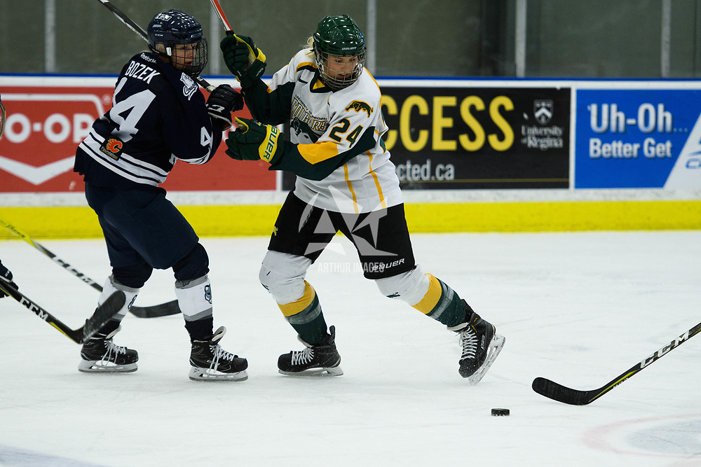 2nd year forward Merissa Zerr (24) of the Regina Cougars  in action during the Women's Hockey home game on October 14 at Co-operators arena. Credit: Arthur Ward/Arthur Images