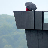 A visitor walks to the end of the lookout at the Flight 93 National Memorial Visitor Center during the dedication of the new visitor center near Shanksville, Pennsylvania on September 10, 2015.  UPI/Archie Carpenter