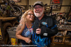 John Rogue Herlihy at Bill Dodge's Blings Cycle shop during Biketoberfest. Daytona Beach, FL, USA. Friday October 20, 2017. Photography ©2017 Michael Lichter.