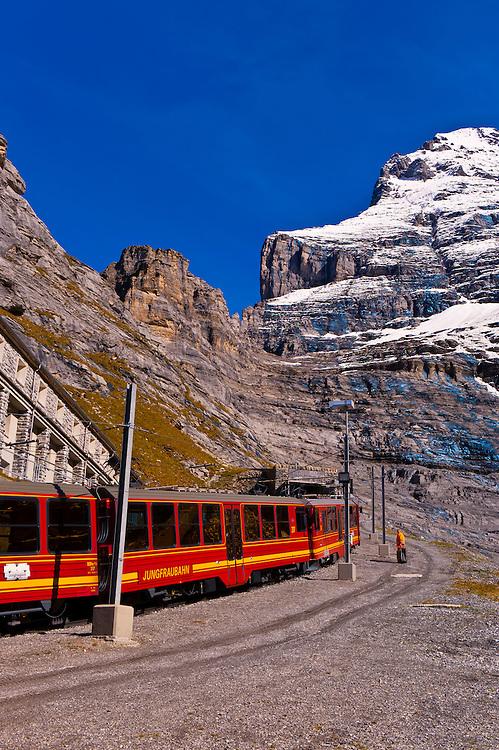 Jungfrau Railway train at Eigergletscher, Swiss Alps, Canton Bern, Switzerland