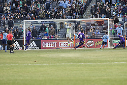March 17, 2018 - New York, New York, United States - Joe Bendik (1) of Orlando City SC saves goal during regular MLS game against NYC FC at Yankee stadium NYC FC won 2 - 0  (Credit Image: © Lev Radin/Pacific Press via ZUMA Wire)
