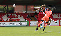 Preston North End's Trialist A heads past Accrington Stanley's Toby Savin to open the scoring<br /> <br /> Photographer Stephen White/CameraSport<br /> <br /> Football Pre-Season Friendly - Accrington Stanley v Preston North End - Saturday 24th July 2021 - Crown Ground - Accrington<br /> <br /> World Copyright © 2021 CameraSport. All rights reserved. 43 Linden Ave. Countesthorpe. Leicester. England. LE8 5PG - Tel: +44 (0) 116 277 4147 - admin@camerasport.com - www.camerasport.com