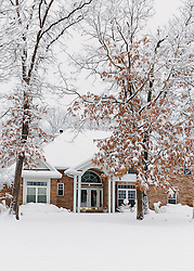 Nestled behind the trees, this home has a quaint snowy feel from the curb