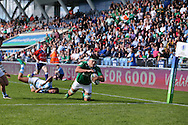 Max Deegan of Ireland goes over to score his teams 2nd try. World Rugby U20 Championship 2016,  Semi Final match,  Match 23  , Ireland U20's  v Argentina U20's at the Manchester city Academy Stadium in Manchester, Lancs on Monday 20th June 2016, pic by  Andrew Orchard, Andrew Orchard sports photography.