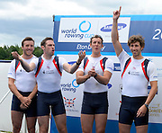 Eton Dorney, United Kingdom.   GBR M4-, Bow Alan SINCLAIR, Nathaniel REILLY-O'DONNELL, Mason DURANT, Matt TARRANT.  Eton Rowing Centre.  Dorney Lake. Sunday  23/06/2013 Berkshire.  [Mandatory Credit Peter Spurrier/ Intersport Images]