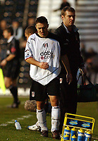 Fotball<br /> Premier League 2004/05<br /> Fulham v West Bronwich Albions<br /> 16. januar 2005<br /> Foto: Digitalsport<br /> NORWAY ONLY<br /> Fulham's Steed Malbranque leave the field early after picking up an injury