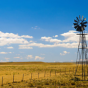 A windmill on an expansive farm in  rural New South Wales, Australia