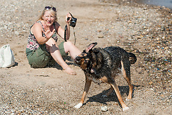 August Personal Shot - Dog splashes it's owner as he shakes off excess water after swimming in the sea at Filey<br /> <br /> 2 August 2013<br /> Image © Paul David Drabble<br /> www.pauldaviddrabble.co.uk