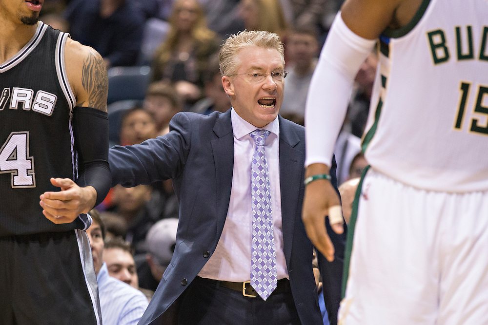 """MILWAUKEE, WI- JANUARY 4:  Head Coach Joe Prunty of the Milwaukee Bucks yells to the officials during a game against the San Antonio Spurs at BMO Harris Bradley Center on January 4, 2016 in Milwaukee, Wisconsin.  """"NOTE TO USER: User expressly acknowledges and agrees that, by downloading and or using this photograph, User is consenting to the terms and conditions of the Getty Images License Agreement.""""(Photo by Wesley Hitt/Getty Images) *** Local Caption *** Joe Prunty"""