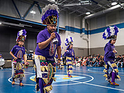 11 DECEMBER 2019 - DES MOINES, IOWA: The Danza La Morenita troupe, a Des Moines Mexican folk dance troupe, performs during the Virgin of Guadalupe celebration at Our Lady of the Americas Catholic Church in Des Moines. Virgin of Guadalupe Day is one of the most important holy days in Mexican Catholicism. It marks Dec. 12, 1531, the day Juan Diego, an indigenous Mexican peasant, saw an apparition of the Virgin Mary on a barren hillside in what is now Mexico City. A basilica was built on the site. Virgin of Guadalupe Day is celebrated throughout Mexico and in Mexican communities in the United States.              PHOTO BY JACK KURTZ