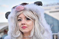 © Licensed to London News Pictures. 29/10/2017. London, UK.  A cosplayer join others from around the world on the final day of the bi-annual MCM Comic Con event at the Excel Centre in Docklands.  The event celebrates popular culture such as video, games, manga and anime providing many attendees with the opportunity to dress up as their favourite characters.  Photo credit: Stephen Chung/LNP