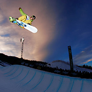 26 January 2008: A snowboarder during Snowboard Superpipe at the ESPN Winter X Games Twelve in Aspen, CO. (Photo by Ric Tapia)