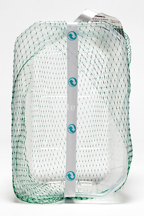 clear plastic fruit basket with green net  and recycle symbols strap