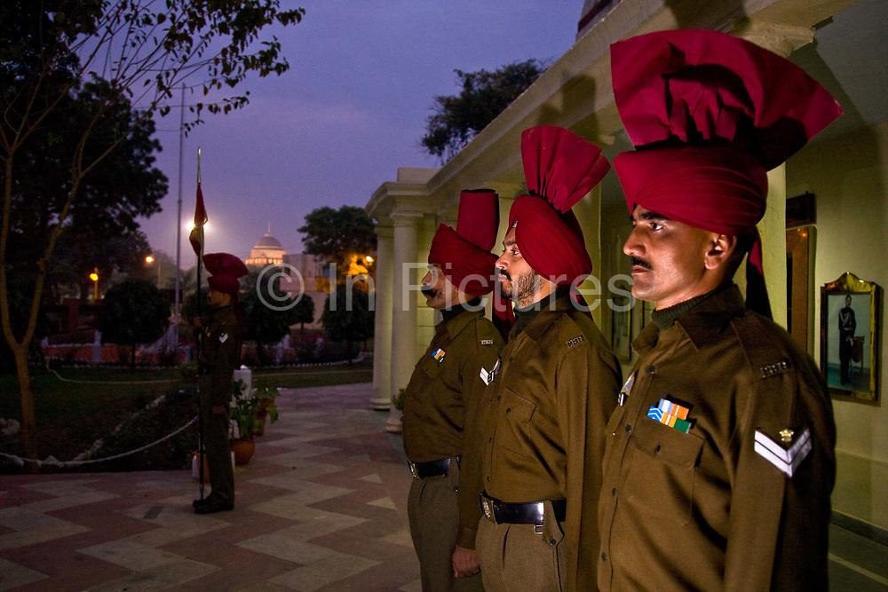 Presidential Bodyguard soldiers on sentry duty at their HQ's with the Rashtrapati Bhavan Palace in background. The  Presidential Bodyguard or PBG is the Indian Army's preeminent regiment founded in 1773 during the British occupation, this handpicked unit began with a mere 50 men and today stands at 160 soldiers plus 50 support staff. It has a dual role, both as a ceremonial guard for the President of India, with all its finery at important state functions, as well as an elite operational unit for the Indian Army which has seen action in many battle fronts, in particular the on going disputed region of Kashmir.