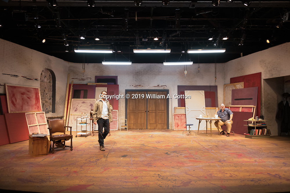 """The Bas Bleu Theatre Company rehearses its production of """"Red,"""" March 20, 2019."""