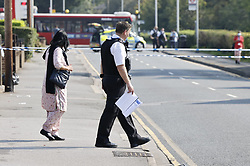 SPELLING CORRECTION © Licensed to London News Pictures. 15/09/2020. London, UK. Police cordons remain in place in Uxbridge after a man was shot with a crossbow yesterday. Police were called at 20:08hrs on Monday, 14 September to Pield Heath Road near the junction with Copperfield Avenue in Uxbridge where a 33-year-old man was found suffering an abdominal injury caused by a crossbow arrow. He was taken to hospital, where his condition is being treated as life-threatening. Photo credit: Peter Macdiarmid/LNP