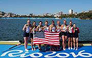 "Rio de Janeiro. BRAZIL     USA W8+. Gold Medalist Bow.  Emily REGAN, Kerry SIMMONDS, Amanda POLK,  Lauren SCHMETTERLING, Tessa GOBBO, Meghan<br /> MUSNICKI, Eleanor LOGAN,  Amanda ELMORE, and cox. Katelin SNYDER, at the, 2016 Olympic Rowing Regatta. Lagoa Stadium, Copacabana,  ""Olympic Summer Games""<br /> Rodrigo de Freitas Lagoon, Lagoa. Local Time 12:24:34  Saturday  13/08/2016<br /> [Mandatory Credit; Peter SPURRIER/Intersport Images]"