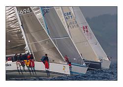 Bell Lawrie Series Tarbert Loch Fyne - Yachting.The first day's inshore races...Miss Tuttles  GBR8694T , winner of IRC Class 3 to windward of Hops & Benola..