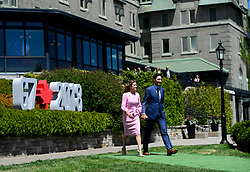 Prime Minister Justin Trudeau and wife Sophie Gregoire Trudeau arrive for the official welcoming ceremony at the G7 Leaders Summit in La Malbaie, Quebec, Canada on Friday, June 8, 2018. Photo by Sean Kilpatrick/CP/ABACAPRESS.COM
