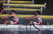 Barcelona, SPAIN. Gold Medalist, GBR M2+, Bow Jonny SEARLE and Greg SEARLE with cox, Gary HERBERT. in the closing stages of the final,. 1992 Olympic Rowing Regatta Lake Banyoles, Catalonia [Mandatory Credit Peter Spurrier/ Intersport Images] Last time Men's coxed pair raced at the Olympics