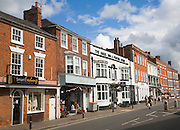 Georgian buildings line the High Street of Pershore, Worcestershire, England