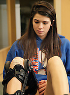 S.S. Seward girls' basketball player Sara Cannillo, who is recovering from surgery to repair the anterior cruciate ligament in her right knee, rehabilitates her knee at  Access Physical Therapy & Wellness in Goshen on Monday, Feb. 14, 2011.