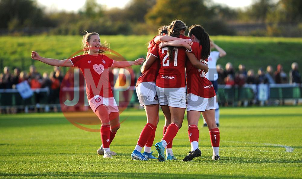 Abi Harrison of Bristol City scores goal making it 1-0- Mandatory by-line: Nizaam Jones/JMP - 27/10/2019 - FOOTBALL - Stoke Gifford Stadium - Bristol, England - Bristol City Women v Tottenham Hotspur Women - Barclays FA Women's Super League