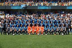 July 8, 2018 - Brugge, BELGIUM - (top row L-R) Club's material man Pascal Plovie; Club's material man Michel Dierings; Club's warehouse man Herman Brughmans; 24 Club's Stefano Denswil; 35 Club's Saulo Decarli; Club's Luan Peres Petrini; 07 Club's Wesley Moraes; 20 Club's Hans Vanaken; 02 Club's Alexander Scholz; 05 Club's Benoit Poulain; Club's Clinton Mata; 44 Club's Brandon Mechele; Club's Brandon Baiye; Club's physiotherapist Dimitri Dimi Dobbenie; Club's physiotherapist Valentijn Deneulin; Club's physiotherapist Jan Van Damme; (center row L-R) Club's physical coach Eddie Rob; Club's Tomislav Rogic; Club's Lois Openda; 10 Club's Abdoulay Diaby; 19 Club's Thibault Vlietinck; 40 Club's Jordi Vanlerberghe; Club's Mats Rits; Club's assistant coach Rudi Cossey; Club Brugge's head coach Ivan Leko; Club's assistant coach Edward Still; 25 Club's Ruud Vormer; Club's Siebe Schrijvers; 08 Club's Lior Refaelov; 30 Club's Marvelous Nakamba; 17 Club's Anthony Limbombe; 03 Club's Timmy Simons; Club's team manager Devy Rigaux; (front row L-R) Club's video analyst Nicolas Still; Club's physiotherapist Peter Destickere; 21 Club's Dion Cools; 09 Club's Jelle Vossen; Club's Arnaut Danjuma Groeneveld; Club's Brent Gabriel; 18 Club's goalkeeper Guillaume Hubert; Club's Karol Letica; 22 Club's goalkeeper Ethan Horvath; 11 Club's Krepin Diatta; 14 Club's Ivan Tomecak; 42 Club's Emmanuel Bonaventure Dennis; Club's doctor Lode Dalewyn; Club's performance coach Dieter Deprez pose for a group picture at the 2018-2019 season photo shoot of Belgian first league soccer team Club Brugge KV, Sunday 08 July 2018 in Brugge...BELGA PHOTO KURT DESPLENTER (Credit Image: © Kurt Desplenter/Belga via ZUMA Press)