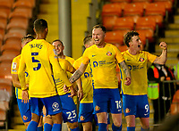 Football - 2021 / 2022 EFL Carabao Cup - Round Two - Blackpool vs. Sunderland -Bloomfield Road - Tuesday 24th August 2021<br /> <br /> Aiden O'Brien of Sunderland celebrates with his team mates after he score his second goal to put his side 2-1 ahead in the second half, at Bloomfield Road.<br /> <br /> COLORSPORT/Alan Martin