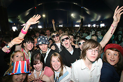 Fans at  Camera Obscura on the King Tut's Wah Wah Tent stage at T in the Park, Saturday 7 July 2007..T in the Park festival took place on the 6th, 7th and 8 July 2007, at Balado, near Kinross in Perth and Kinross, Scotland. This was the first time the festival had been held over three days..Pic ©2011 Michael Schofield. All Rights Reserved..