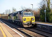 Goods freight British Rail Class 70 locomotive 70811 train, Great Bedwyn railway station, Wiltshire, England, UK