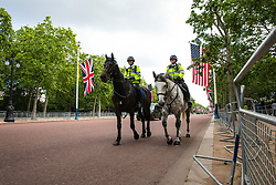 © Licensed to London News Pictures. 03/06/2019. London, UK. Police horses patrol along The Mall from Buckingham Palace ahead of the arrival of President of the United States Donald Trump. President Trump is in the UK for a three-day State Visit. Photo credit: Rob Pinney/LNP