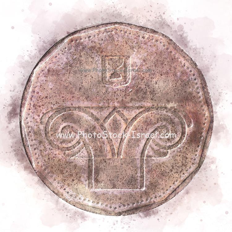 Digitally enhanced image of a Five New Israeli Shekel coin (ILS or NIS)