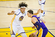 Golden State Warriors center Anderson Varejao (18) plays defense against the Los Angeles Lakers at Oracle Arena in Oakland, Calif., on November 23, 2016. (Stan Olszewski/Special to S.F. Examiner)