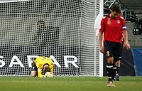 Fotball , 28 mars 2007 , EM - kvalifisering gruppe c, Commerzbank Arena , Frankfurt , Tyrkia - Norge<br /> Turkey - Norway<br /> Qual. Euro<br /> Tabbe av Thomas Myhre, og Norge klarer bare 2-2 etter å ha LEDET 2-0 ,