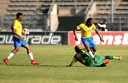 11/08/2018. Danny Venter of Lamontville Golden Arrows FC tackles Lebogang Maboe of mamelodi Sundowns FC as Sibusiso Vilakazi gets away with the ball during their MTN8 quater finals at Lucas Moripe Stadium.<br /> Picture: Oupa Mokoena/African News Agency (ANA)