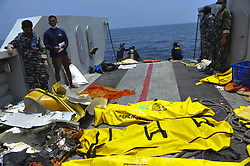 Nov. 1, 2018  - Jakarta, Indonesia - Body bags of victims of Lion Air JT610 lying on a landing craft at Tanjung Pakis offshore in Karawang, West Java Province, Indonesia. A black box of Lion Air plane that went down in waters off West Java province of Indonesia on Monday was retrieved by a diver on Thursday, a transport ministry senior official said. (Credit Image: © Zulkarnain/Xinhua via ZUMA Wire)