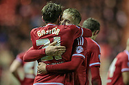 Gastón Ramírez (on loan from Southampton) (Middlesbrough) celebrates scoring the first goal 1-0 to Middlesbrough during the Sky Bet Championship match between Middlesbrough and Wolverhampton Wanderers at the Riverside Stadium, Middlesbrough, England on 4 March 2016. Photo by Mark P Doherty.