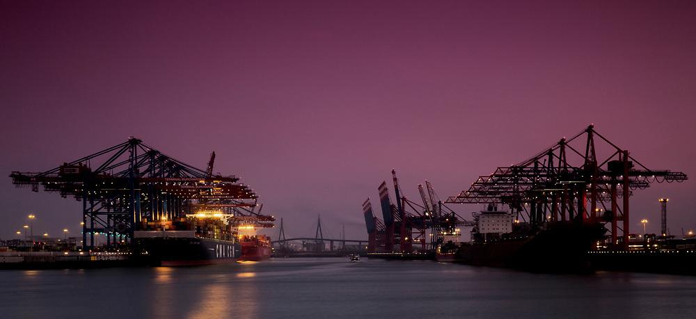 Die Kräne des HHLA Terminals am Waltershofer Hafen bei Sonnenuntergang in Hamburg