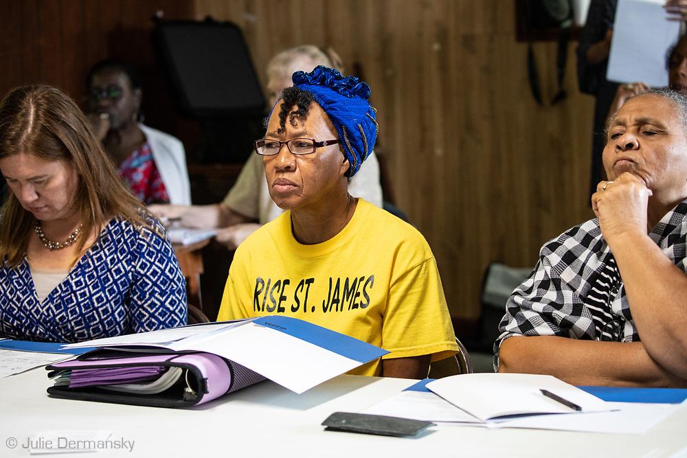 Barbara Washington, in Riste St James t-shirt at EPA air quality moniterring trainning seminar in St. James Louisiaina on August 1, 2019.