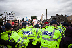 © Licensed to London News Pictures. 11/10/2017. Lancashire, UK. Protesters kettled by police at the Anti-Fracking Demonstration in Kirby Misperton, Yorkshire. The protest blocked the entrance to Third Energy's Hydraulic fracking site after they were granted permission to set up their drilling rig at the site.  Photo credit: Steven Speed/LNP