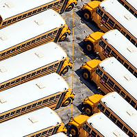 Aerial image Miami-Dade County Florida public school bus storage facility.