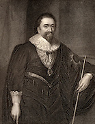 William Herbert,  3rd Earl of Pembroke (1580-1630) English poet and courtier.  Patron of Ben Jonson, Philip Massinger and Inigo Jones. Engraving.