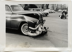 "On-The-Scene Accident Photograph, Elm & Orchard Streets New Haven CT circa December 1956. This photo is part of a set of 15 images captured of this accident by photographer Robert F. Anderson, Legal Photo Service. A scan of a 3.5""x5"" original lab print, negative or precise records not found. Not yet restored from deterioration, date is approximate."