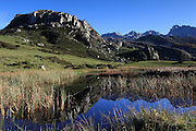Reflections in the Lago de la Ercina in the western area of teh Picos de Europa national park in northern Spain