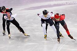 February 17, 2018 - Gangneung, South Korea - Short track skaters Samuel Girard of Canada, John-Henry Krueger of the United States, Yira Seo of Korea, Hyojun Lim of Korea and Shaolin Sandor Liu of Hungary compete in the Men's Short Track Speed Skating 1000M finals at the PyeongChang 2018 Winter Olympic Games at Gangneung Ice Arena on Saturday February 17, 2018. (Credit Image: © Paul Kitagaki Jr. via ZUMA Wire)