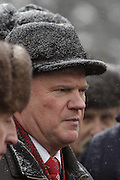 Moscow, Russia, 21/01/2004..Russian Communist Party leader Gennadi Zyuganov and supporters lay wreaths at Lenin's Mausoleum on Red Square on the anniversary of Lenin's death..