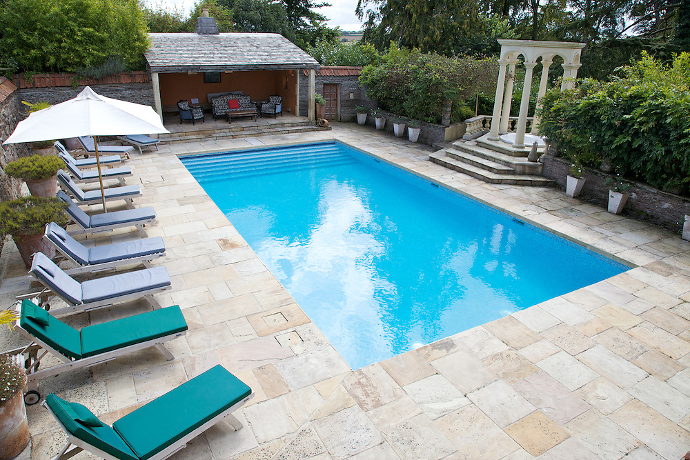 The pool at The Old Rectory, Chumleigh, Devon <br /> CREDIT: Vanessa Berberian for The Wall Street Journal<br /> LUXRENT-Nanassy/Chulmleigh