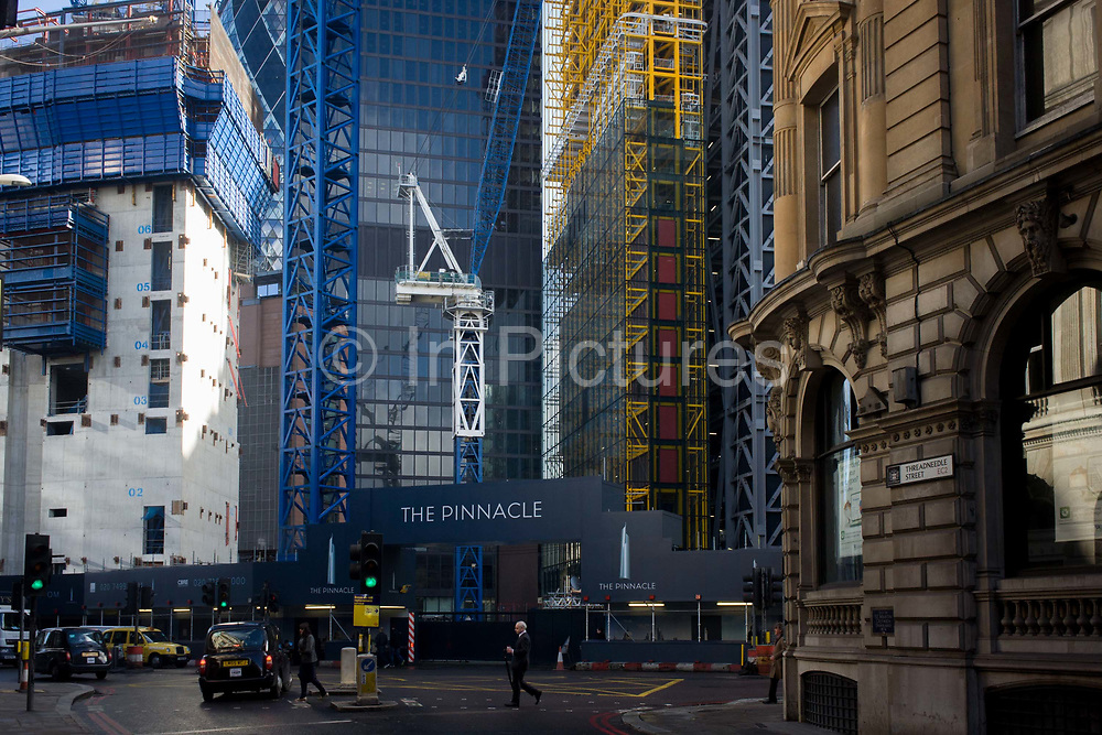 The large construction project known as the Pinnacle, on Bishopsgate in the financial City of London, known as the Square Mile after its ancient Roman walled past. The Bishopsgate Tower, informally referred to as The Pinnacle, is a 288 m (945 ft), 64-storey skyscraper in the centre of London's main financial district, the City of London. On completion, it will become the tallest building in the City of London and the second tallest building in both the United Kingdom and the European Union. The Brookfield Multiplex builds, engineers, develops and maintains property and infrastructure around the world. Over the past five decades they have successfully completed over 726 major projects, with a combined value of over $27.5 billion in Australasia, Europe, the Middle East and Asia.