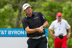 May 9, 2019 - Dallas, TX, U.S. - DALLAS, TX - MAY 09: Ryan Palmer hits his tee shot on #9 during the first round of the AT&T Byron Nelson on May 9, 2019 at Trinity Forest Golf Club in Dallas, TX. (Photo by Andrew Dieb/Icon Sportswire) (Credit Image: © Andrew Dieb/Icon SMI via ZUMA Press)